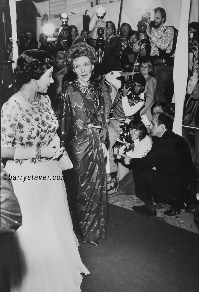 Nancy Reagan escorts Queen Elizabeth up the Red Carpet in Hollywood, CA. 1983. Photo ©Barry Staver, barrystaver.com